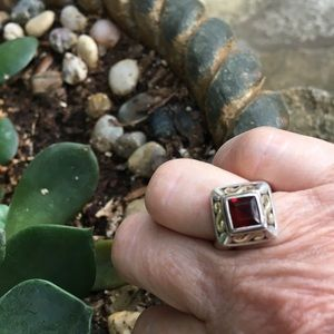 James Avery gold, silver and garnet ring
